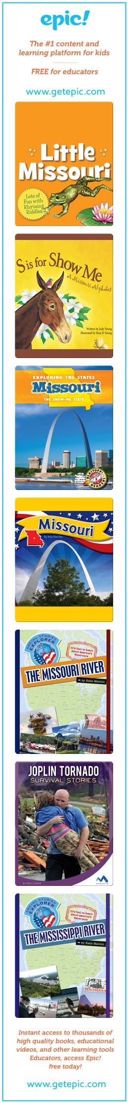 Missouri - Titles in this collection: Little Missouri, S is for Show Me: A Missouri Alphabet, Exploring the States: Missouri, Missouri, The Missouri River...
