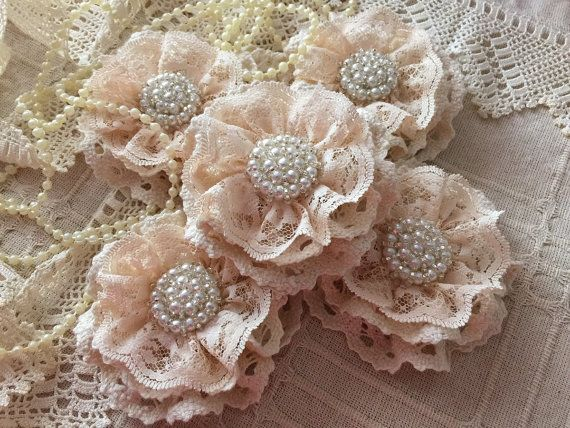 5 shabby chic cotton lace handmade flowers