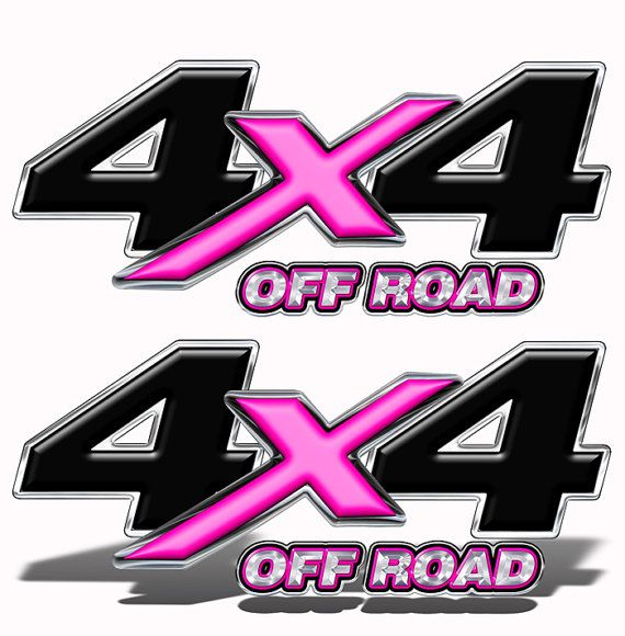 4X4 OFF ROAD Decals Stickers Truck Bed Set of 2 ALL PINK Graphics  Mk202OR4