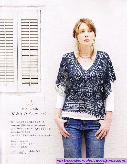 CrochetHook, Crochê Azul, Crochet Tunic, Crochet Poncho, Blusas Ems, Ems Crochê, Crochet Tops, Blusas Tunica, Crochet Clothing