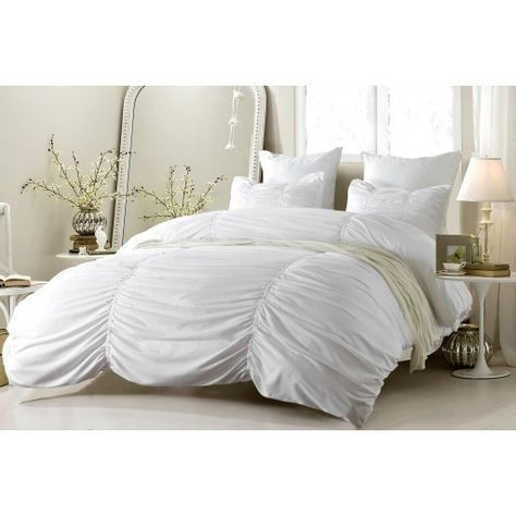 Ruched Design White Duvet Cover Set Style # 1005 - Cherry Hill Collection in King/Cal King Size