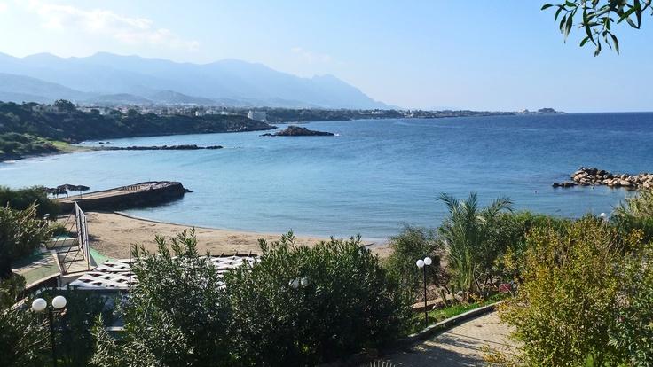 View over Mediterranean, west of Kyrenia from Kervan Restaurant.