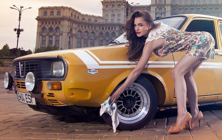 Sexy romanian girl taking care of the Dacia 1300 rims... #romania #dacia #classic #racing