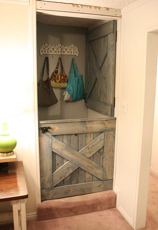 Dutch Barn Door - Interior Design - Rustic...for the basement, allow heat up and keep kids upstairs