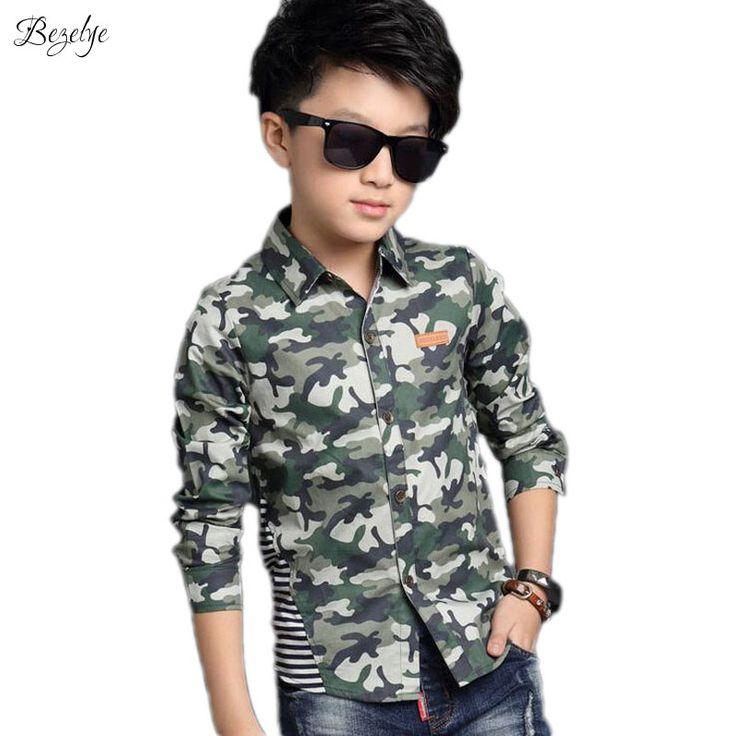 1 PC Camouflage Boy Shirt Fashion Children Clothing Cotton School Uniform Shirt Autumn Kids Clothes Spring Boys Shirts for Child