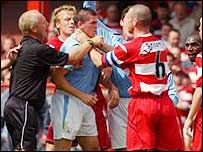 Mark 'The Sarge' Albrighton introduces himself to Joey Barton