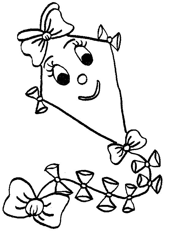 Girly Kite coloring page
