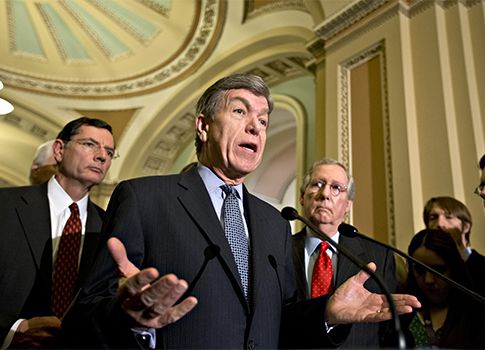 "No Confirmation, No Paycheck.  GOP bill would eliminate salaries of NLRB members until they are 'legally confirmed.' Missouri Sen. Roy Blunt (R.) introduced a bill to eliminate the salaries of the Democratic board members Sharon Block and Richard Griffin in the wake of a D.C. Circuit Court of Appeals ruling declaring their ""recess appointments"" unconstitutional.   ... way to go Senator Blunt!   http://freebeacon.com/no-confirmation-no-paycheck/#"