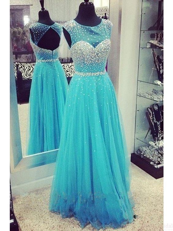 Bg508 Charming Prom Dress,Blue Prom Dress,Organza Prom Dress,Backless