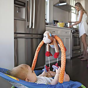 PullyPalz Pacifier Holder: Bye-bye dropped binkies…hello fun! What's better than having to endlessly retrieve baby's dropped pacifiers? When baby can retrieve them herself! Strap this friendly stuffed monkey to your baby carrier handle, and attach two pacifiers to its pulley system. When one binky drops out of sight, baby will grasp the other, pulling the first one back into view!...