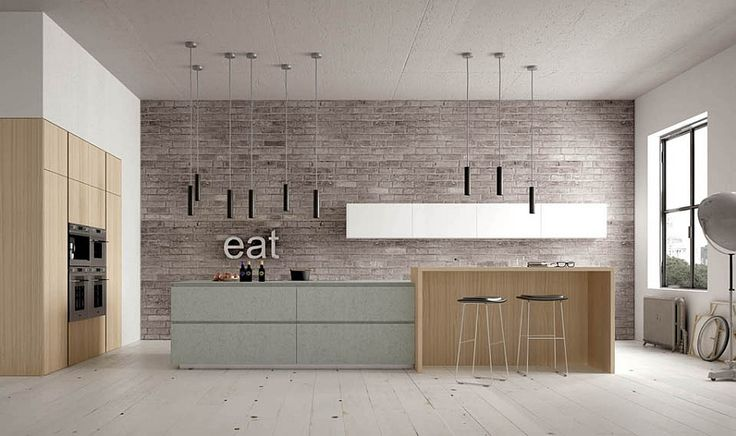 Kitchen interior design. Gray, brick wall, natural wood, pendant lights. Open kitchen concept.
