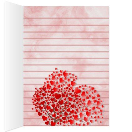 Hearts and Tree Lined Note Card - template gifts custom diy customize