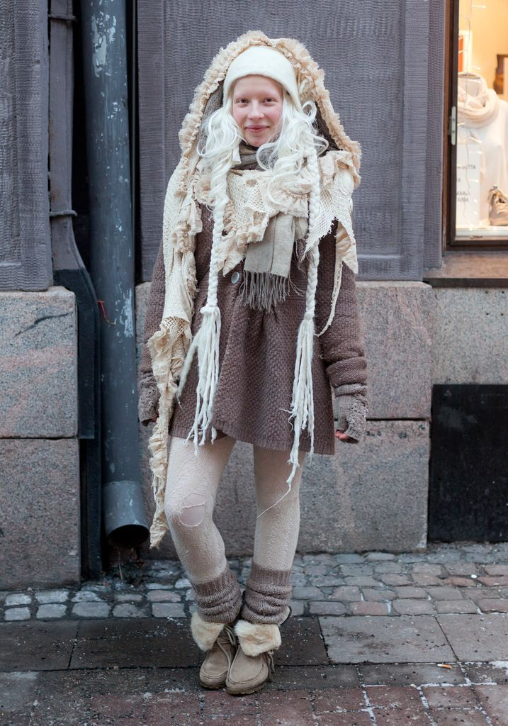 """""""The north, Indians, fairies, the Sami people and nature inspire my style. I make and modify clothes myself. My style has been white and grey for a long time. I never wear bright colours."""""""