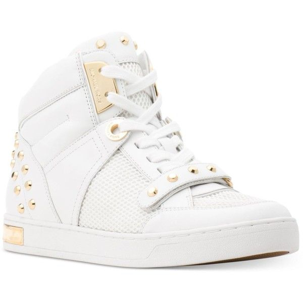 Michael Michael Kors Astor High-Top Sneakers ($195) ❤ liked on Polyvore featuring shoes, sneakers, optic white, michael kors trainers, metallic high top sneakers, studded sneakers, white hi top sneakers and metallic shoes