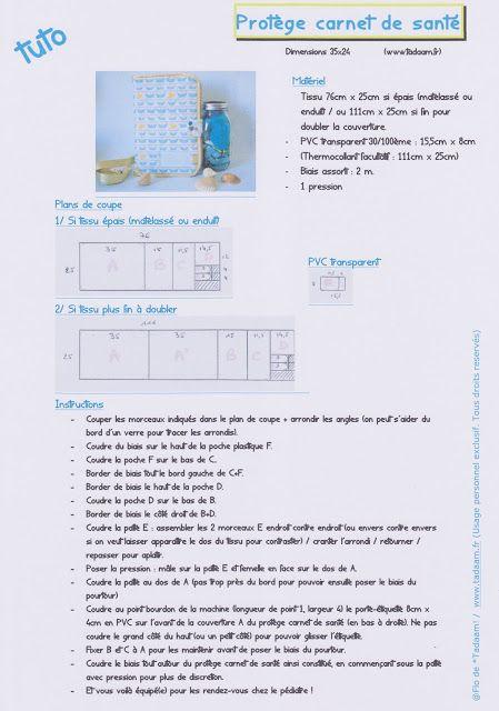 *Tadaam !: DIY / Tuto ★ Protège carnet de santé en tissu matelassé. www.tadaam.fr (usage personnel exclusivement, merci)
