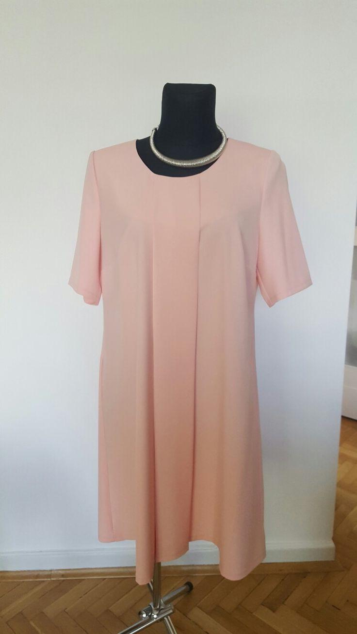 Elegancka łososiowa sukienka 48/50