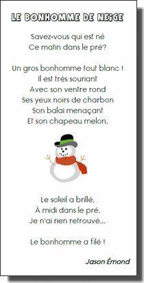 French winter poem about a snowman: poésie sur le bonhomme de neige