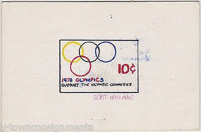 1976 OLYMPICS COMMITTEE RINGS VINTAGE PAINTED POSTAGE STAMP ART DRAWING SKETCH