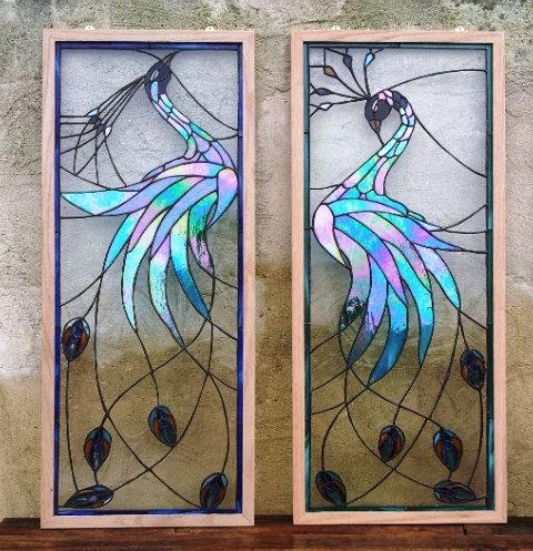"""Stained glass panels - """"Iridescent Peacock"""" (P-26). $425.00, via Etsy."""