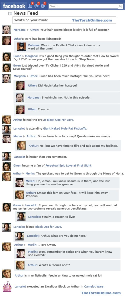 """Merlin, """"Lancelot and Guinevere"""" on Facebook. I died laughing - and there is one for each episode ;-)"""