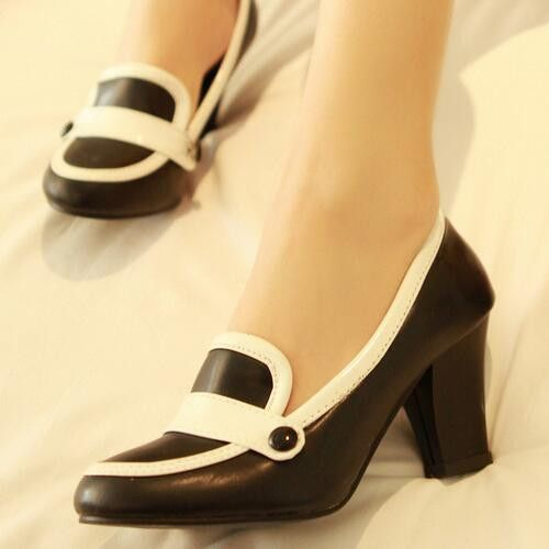 Women Pumps High Heels Pu Leather Black and White Shoes Woman 5776
