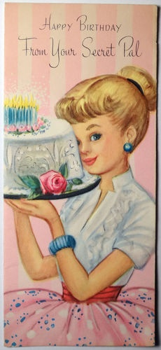Vintage Birthday card - from Your Secret Pal