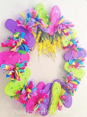 Birthday Party Blog: DIY Flip Flop Wreath