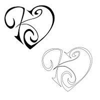 K+J Union heart tattoo and stencil