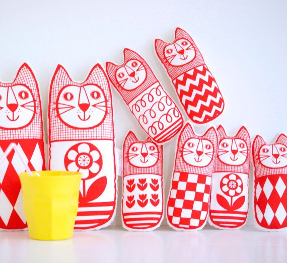 Screen Printed Scandinavian Toy Kit To Make 6 x Cats by Janefoster