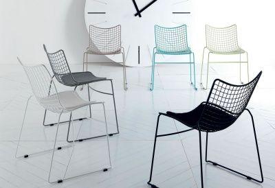 """Sedia """"QUADRO"""" Design Italiano trafilato d'acciaio cromata o laccata. www.contractandmore.com"""