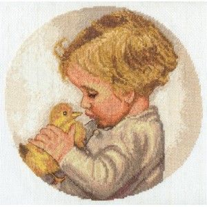 """Panna """"Мальчик с утенком"""" ДТ-1405 наборы для вышивания  интернет-магазин Salfetka-shop.ru"""
