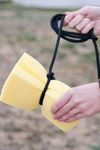 Before you saddle up, tie a long rope around a large, fluffy sponge. At water crossings, use the sponge to cool you and your horse - without dismounting. Perfect for trail rides!