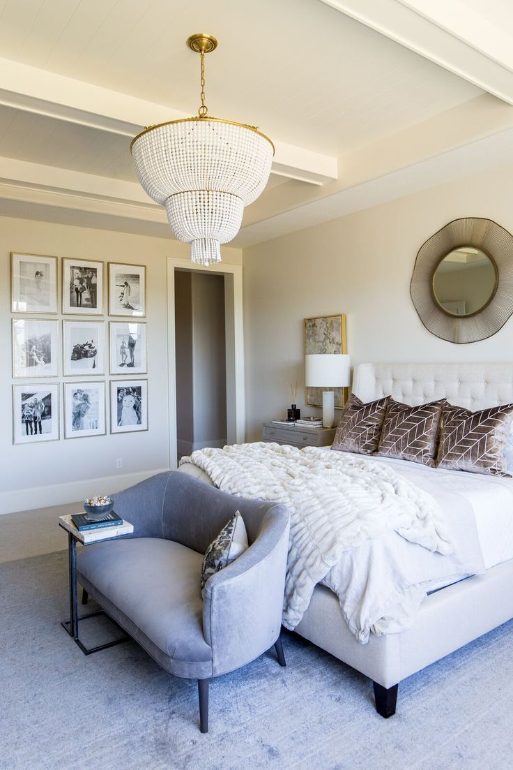 Emily Jackson's spa like master suite with a gallery wall of family photo Design by Alice Lane Home Photo by Lindsay Salazar