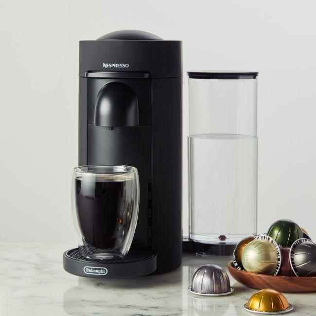 Nespresso By De Longhi Matte Black Vertuoplus Coffee And Espresso Maker Crate And Barrel E Crate And Barrel Coffee And Espresso Maker Nespresso Coffee Maker