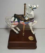 """Vintage Music Box Carousel  w/Horse/Eagle/Flag on Wooden Base, """"Over The Wave"""""""