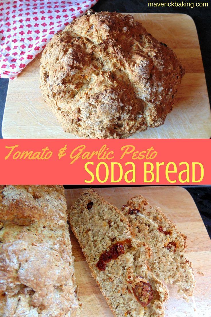 Tomato & Garlic Pesto Soda Bread; a quick and easy bread full of delicious Italian flavours!