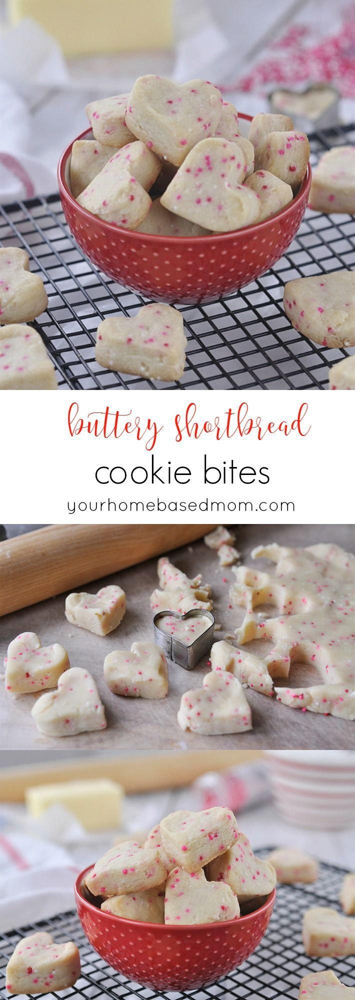 Buttery Shortbread Cookie Bites - cute , sweet and little. Just pop a couple in your mouth!  Perfect for Valentine's Day or any time of year!