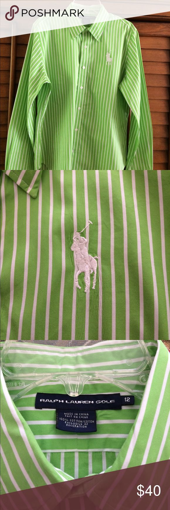 Ralph Lauren Big Pony Shirt. Really nice, lime green with white stripes. White embroidered Signature Big Pony and white embroidered RL on back collar. Great shirt. Ralph Lauren Golf Tops Button Down Shirts