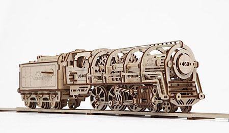 3D Holzpuzzle - Ugears - Lokomotive mit Tender
