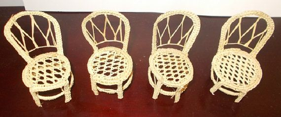 Doll House Miniature Furniture qty 4 Wicker by RomanceWriter