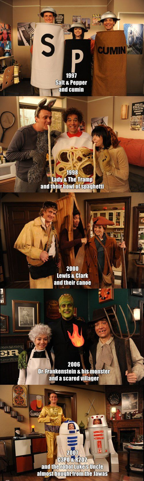 Marshall, Lily and Ted Halloween costumes - How I Met Your Mother. #thirdwheelproblems #storyofmylife ;)
