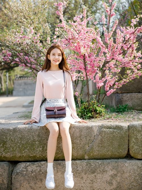 Blush pink sweater and floral skater skirt