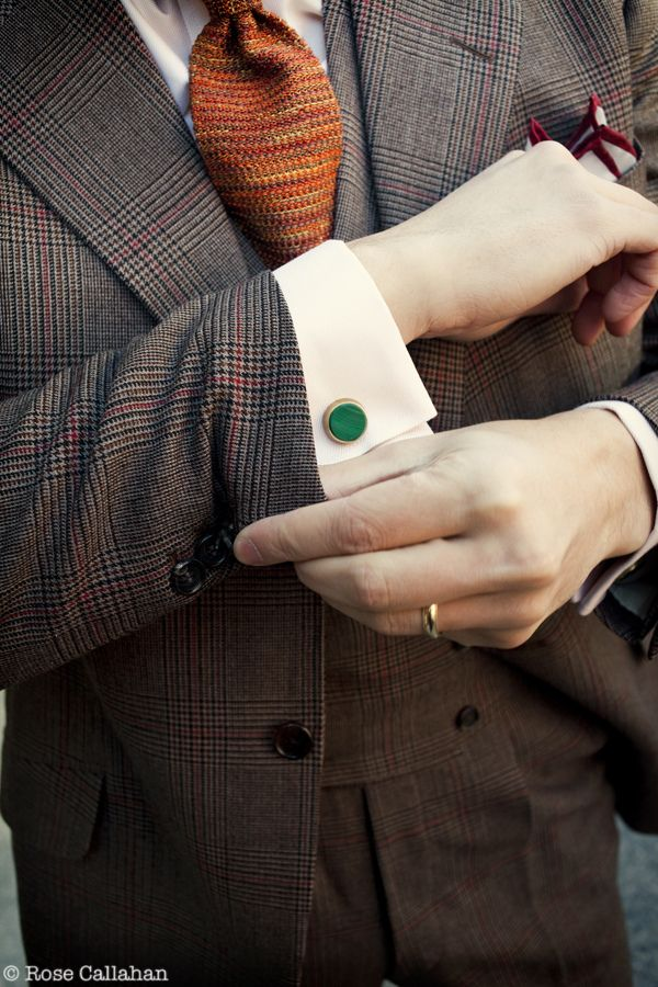 Brown Glencheck Suit with Green Malachite Cufflinks