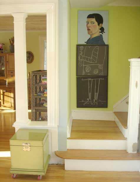 charise harper's houseYellow Wall, Funny Ideas, Chalkboards Painting, Self Portraits, Design Sponge, Chalk Boards, Chalkboards Art, Cool Ideas, Art Wall