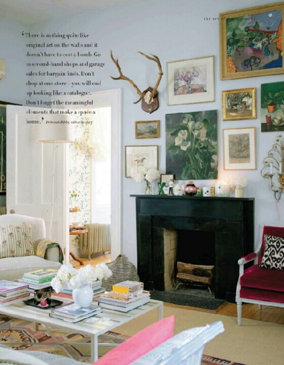Charming Art Wall And Black Fireplace. Find This Pin And More On Eclectic Living Room  ... Nice Design