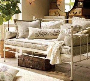 MUST HAVE a french iron daybed on the sunporch for naps.: Guestroom, Potterybarn, Idea, Elle Decor, Guest Bedrooms, Mattress, Guest Rooms, Daybeds, Pottery Barns