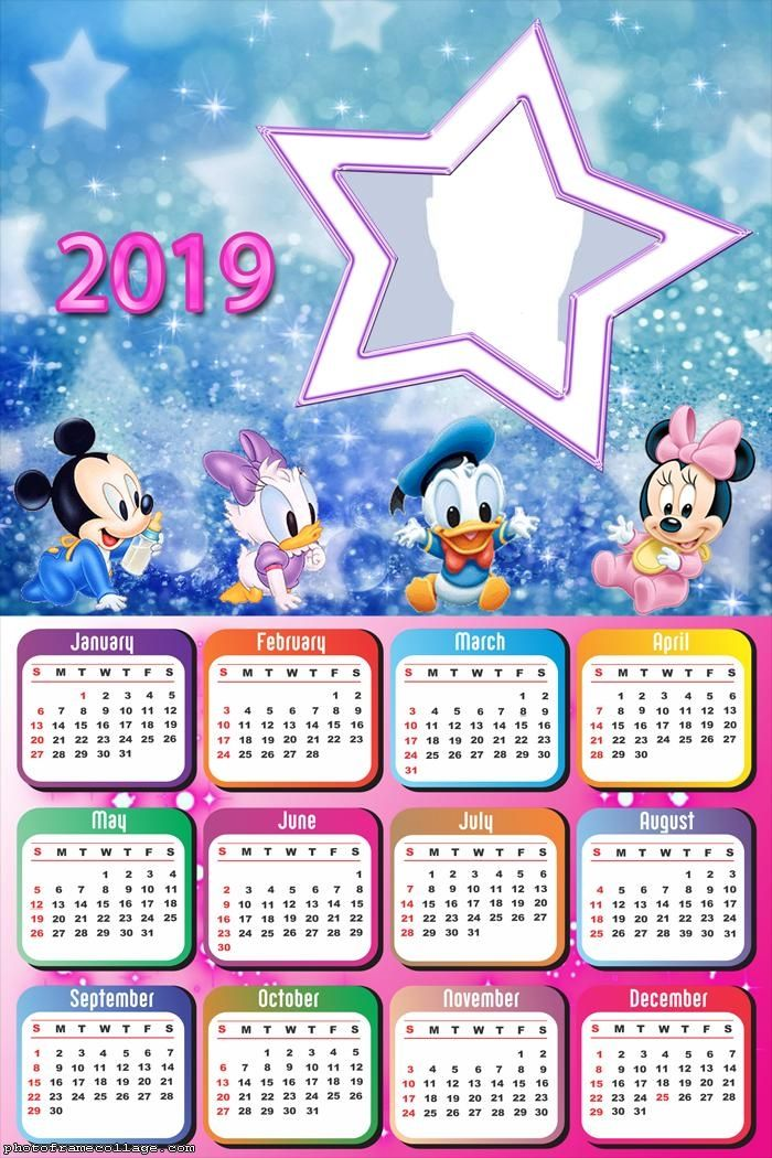 Star Disney Baby Calendar 2019 Frame Photo Montage Free