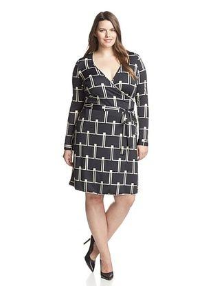 61% OFF JB by Julie Brown Plus Women's 3/4 Sleeve Wrap Dress (Black/Ivory Minx)