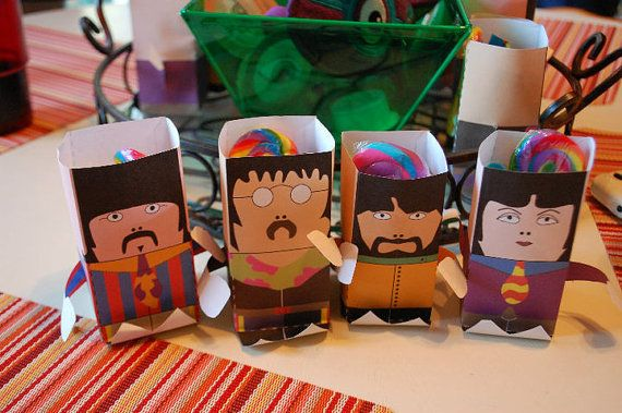 DIY Beatles Sgt. Peppers Paper Favor Bags { Printable Beatles Treats Party Favors Yellow Submarine Birthday Bash Origami }