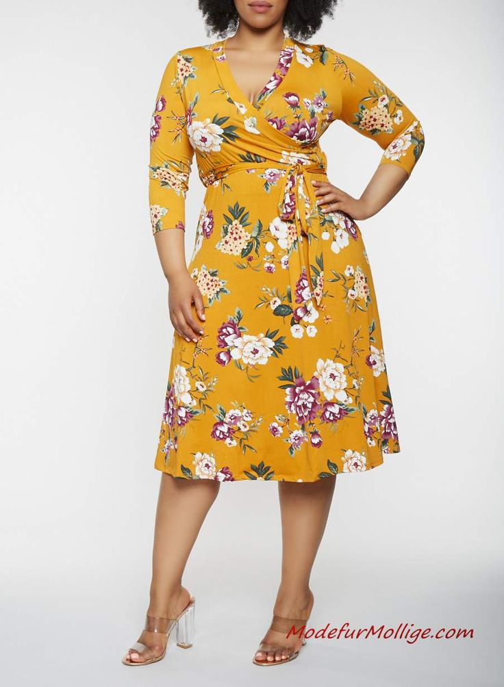 Gelbes Midi Blumenkleid für mollige damen – 2019 …